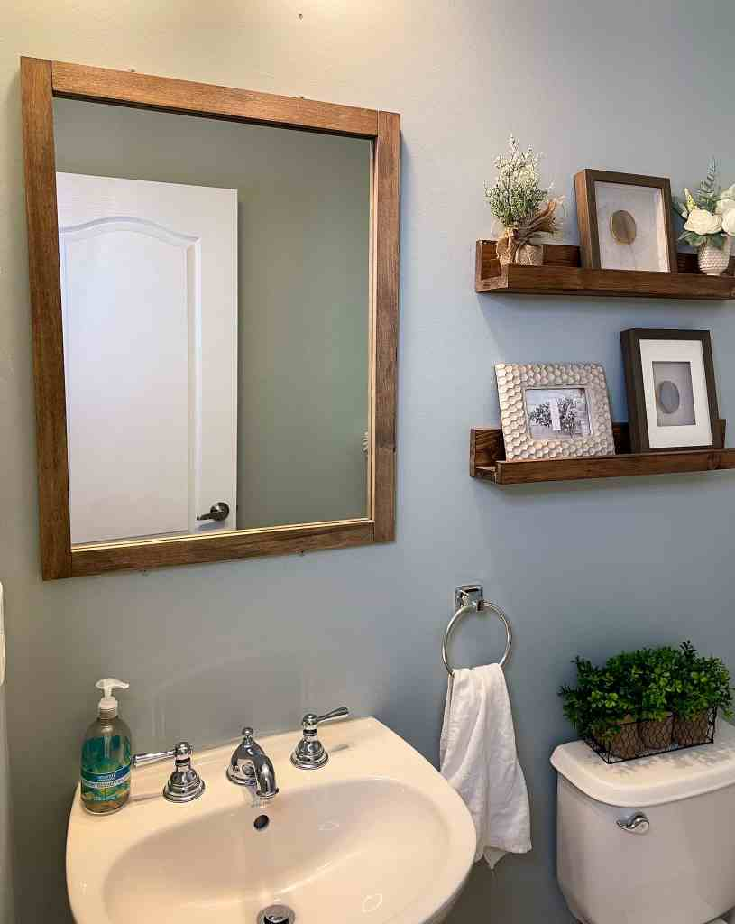 how to frame a bathroom mirror with scrap wood