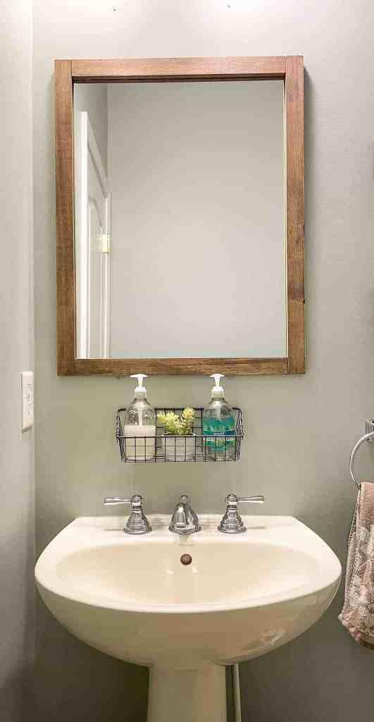 bathroom updates on a budget, mirror frame