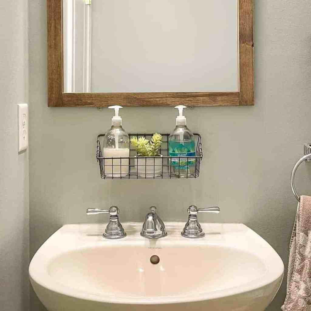 scrap wood bathroom mirror frame